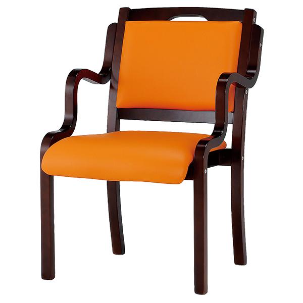 木製チェア/肘付/手掛付/IKD-04-VOR/オレンジ/IKDシリーズ/1000957