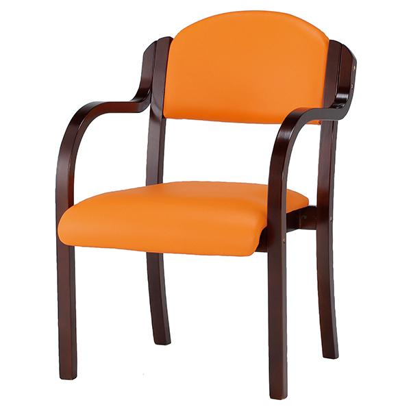 木製チェア/肘付/IKD-B01-VOR/オレンジ/IKD-Bシリーズ/1000956