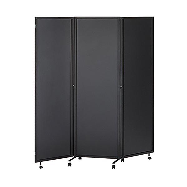 3連折りたたみパーティション/キャスター付き/化粧板タイプ/THREDY-B-BK/幅1800×奥行500×高さ1800mm/ブラックフレーム×ブラック/スレディシリーズ/661024