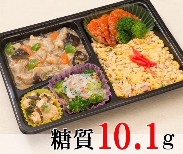 八宝菜と海老チリ弁当 [大豆米]