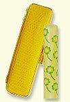 風水印鑑 四ツ葉のクローバー 黄[12mm] サニーケース金わくセット