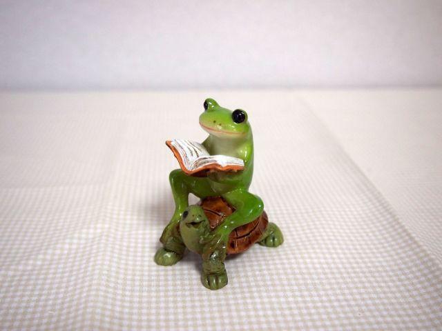 亀乗り読書蛙
