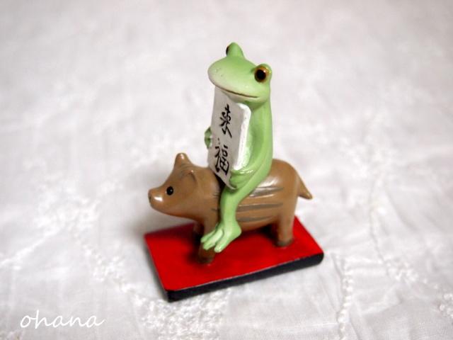 ウリボーに乗るカエル
