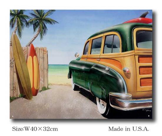 浜辺のオールドカー