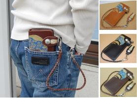 【40%OFF・送料無料】厚口のヌメ革を使用した長財布。ロープ付き 【IGV-201】