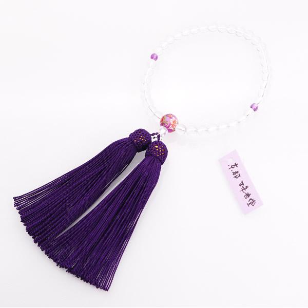 JZ-0204     女性用数珠 水晶 2天紫水晶仕立 親玉花柄 7mm玉
