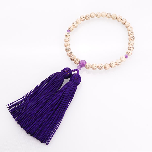 JZ-0206     女性用数珠 星月菩提樹 紫水晶仕立 8mm玉