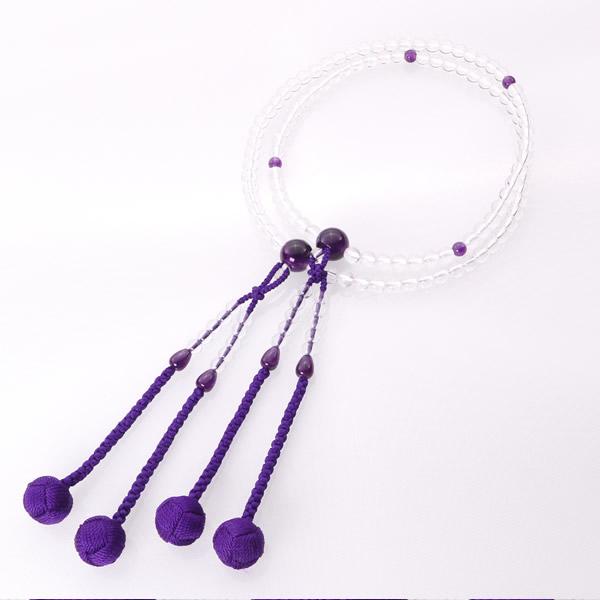 JZ-0403     宗派別女性 真言宗 水晶 紫水晶仕立 かがり梵天 1尺
