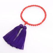 JZ-0212     女性用数珠 本赤珊瑚 共仕立 7mm玉