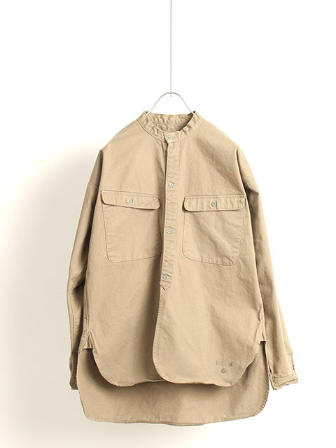 旧日本軍裏起毛ノーカラーシャツ