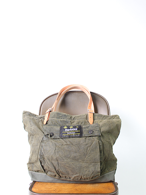 BARBOUR REMAKE BAG OLIVE type A-yoused バブアーリメイクバッグ