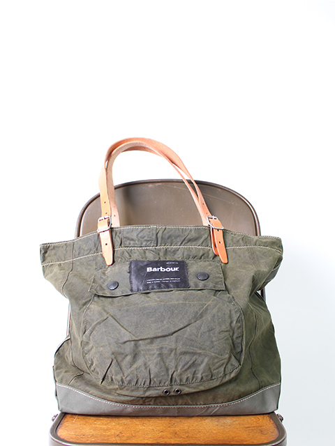 BARBOUR REMAKE BAG OLIVE type B-yoused バブアーリメイクバッグ