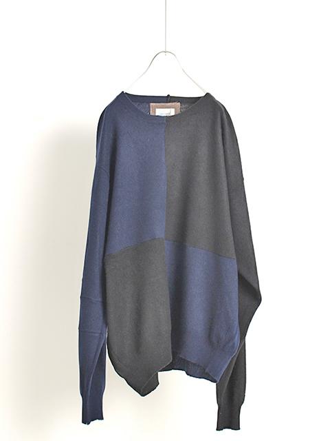 カシミアパッチワークセーターネイビーサイズ2