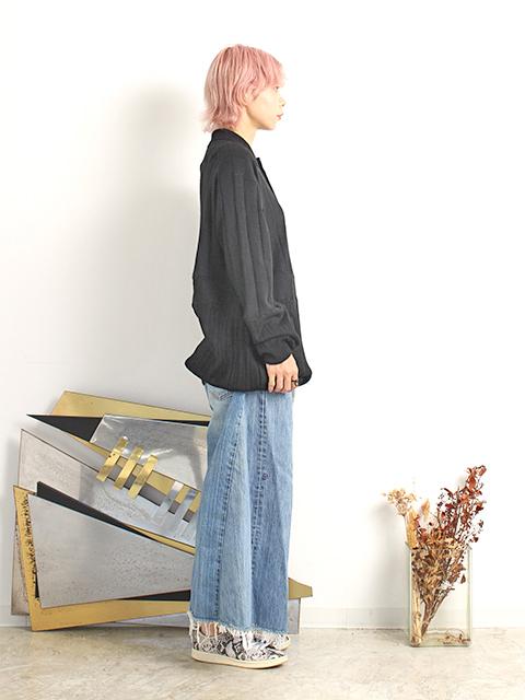 カシミアパッチワークセーターブラックサイズ2ポロタイプ