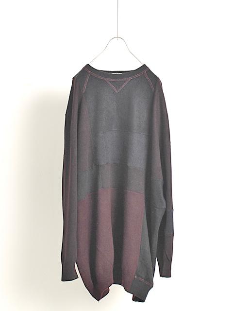 カシミアパッチワークセーターボルドーサイズ2