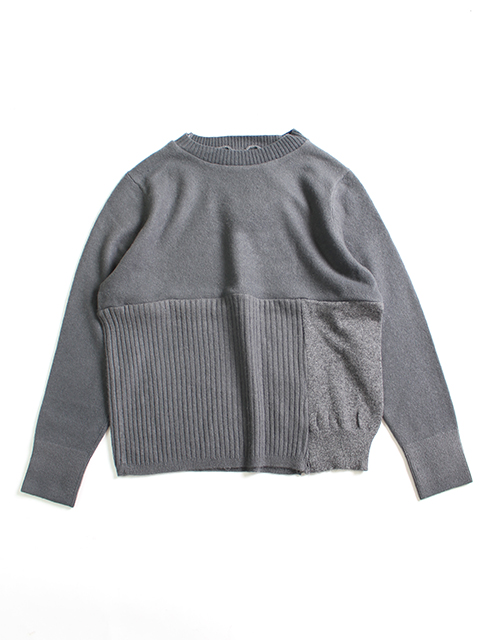 CASHMERE REMAKE PATCHWORK SWEATER-GRAY yoused カシミアリメイクパッチワークセーター