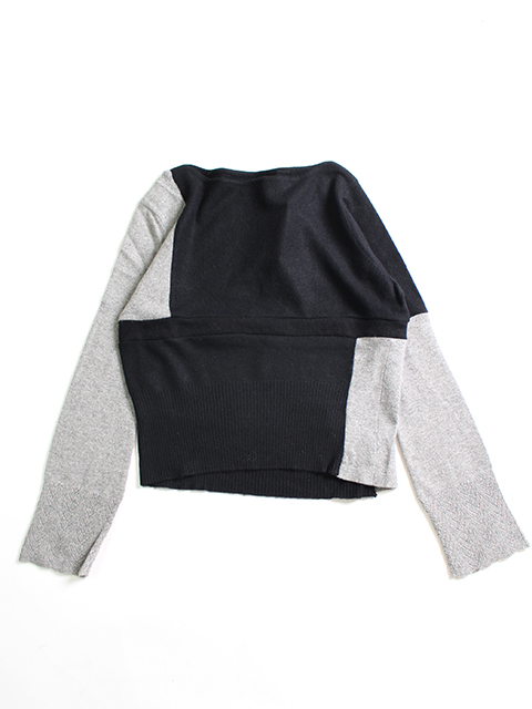 CASHMERE REMAKE PATCHWORK SWEATER-BLACK yoused カシミアリメイクパッチワークセーター