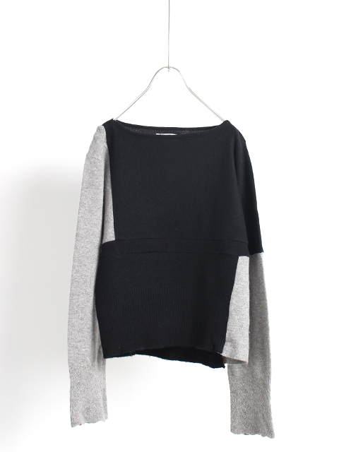 CASHMERE REMAKE PATCHWORK SWEATER-BLACK&GRAY yoused カシミアリメイクパッチワークセーター