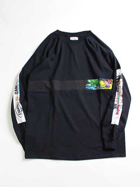 FRONT PATCHWORK LONG TEE yoused フロントパッチワークロングT