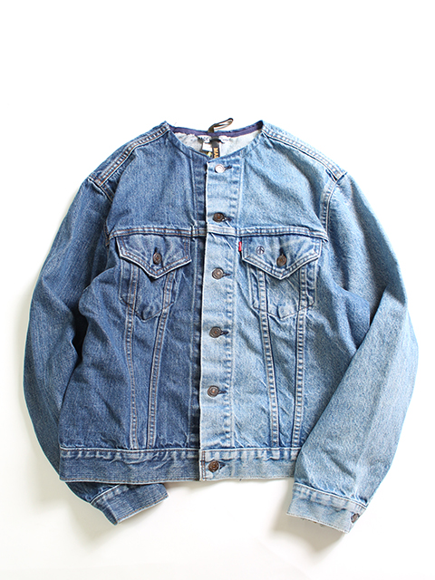 REMAKE 2FOR1 NO COLLAR DENIM JACKET SIZE-3 SUNNY SIDE UP-サニーサイドアップ