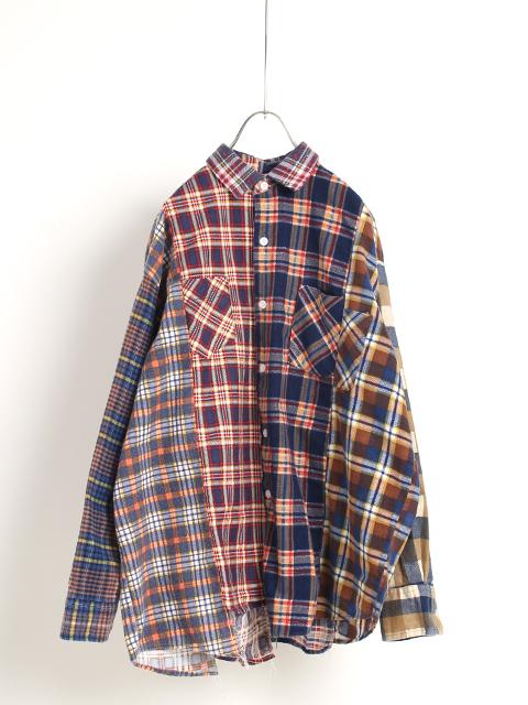 リメイクフランネルパッチワークシャツ