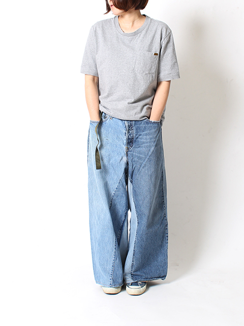 REMAKE DENIM BAGGY PANTS SUNNY SIDE UP-SIZE2A サニーサイドアップ