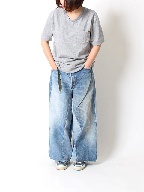 REMAKE DENIM BAGGY PANTS SUNNY SIDE UP-SIZE2B サニーサイドアップ