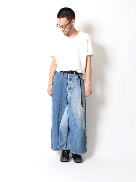 REMAKE DENIM BAGGY PANTS SUNNY SIDE UP-SIZE3A サニーサイドアップ