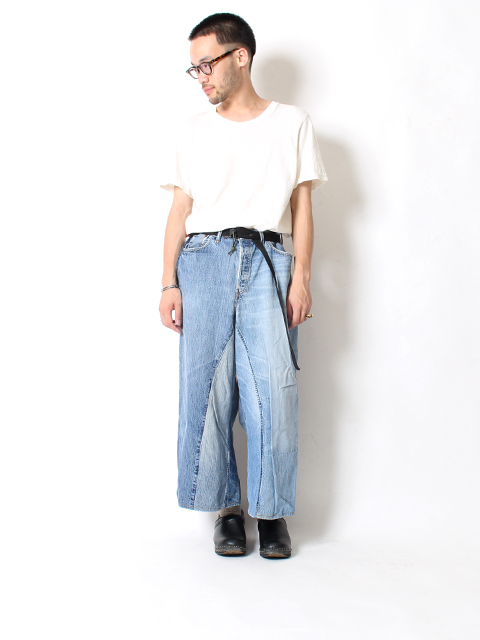 REMAKE DENIM BAGGY PANTS SUNNY SIDE UP-SIZE3B サニーサイドアップ