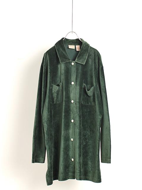 ベロアレギュラーシャツグリーンコール