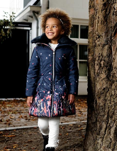 【Le Chic】 ドレスコート<紺色>襟、フード取外し可能 128/140サイズ★特別価格★