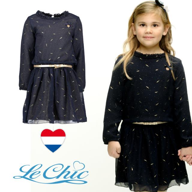 【Le Chic ルシック】ワンピース ネイビーxGOLD 116 128 140 152 サイズ