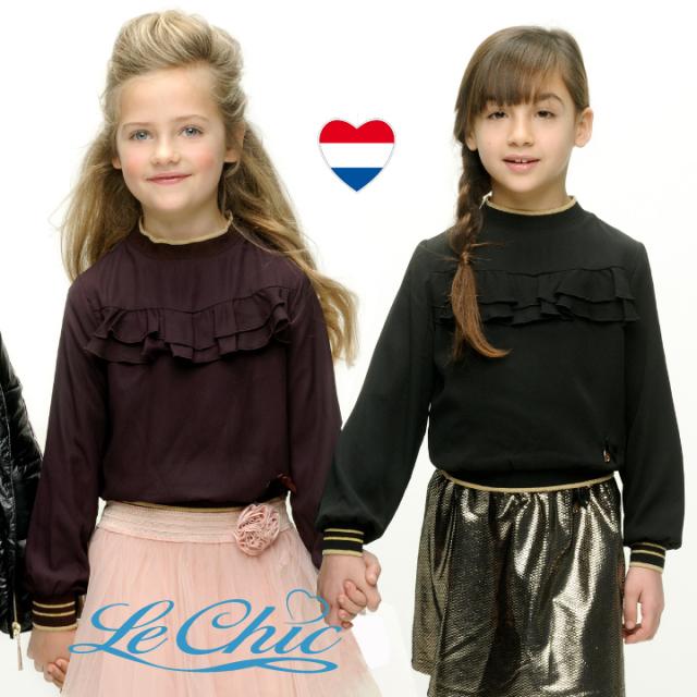 【Le Chic ルシック】ブラウス 厚手素材 黒 ワインレッド 2色 フリル 116 128 140 152 サイズ