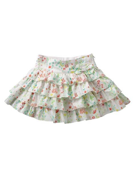 【S15GSK006】花柄ティアードスカート  92/104サイズ