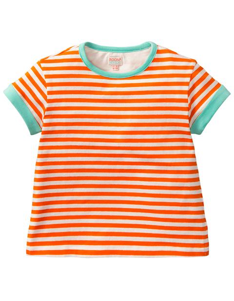 ルームセブン【S17GJE025】オレンジボーダーTシャツ 116/140/152サイズ