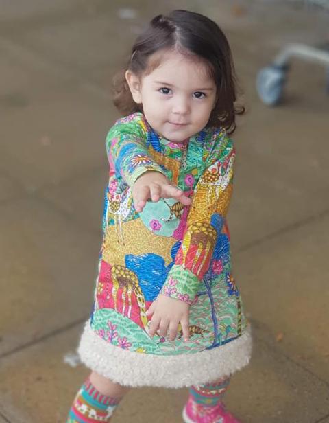 OILILY【YF18GDR004】カラフル大草原裾ボア付きジャンパースカート 74 80サイズ