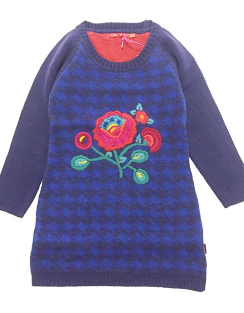 OILILY【YF18GDR271】お花刺繍ニットワンピース104 128サイズ