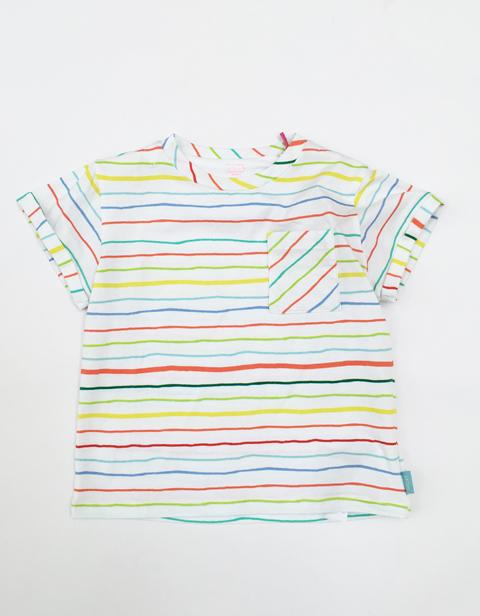 OILILY【YS17GJE201】カラフルマルチボーダー ポケット付きTシャツ 104サイズ