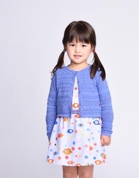 OILILY【YS17GKN242】透かし編み 綿ニットカーディガンブルー 92 104 116 128サイズ