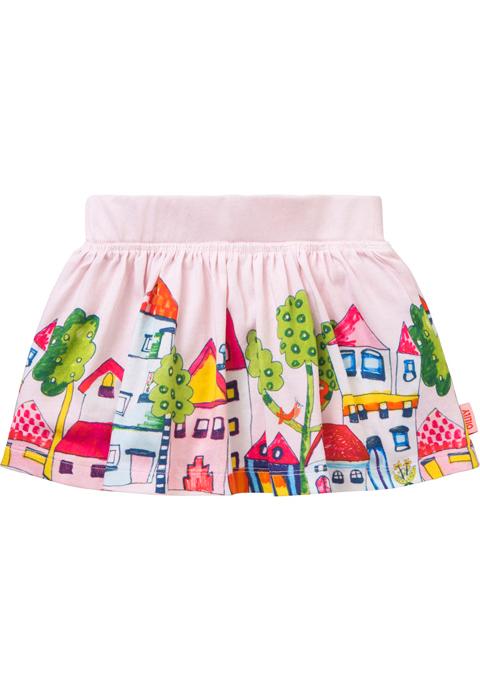 OILILY【YS18GSK081】オイリリーヴィレッジ柄スカート 80/92サイズ
