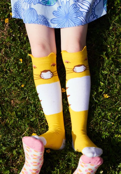 OILILY【YS18GTI203】アニマル黄色ハイソックス 26(15-18cm)【ゆうメール可】サイズ