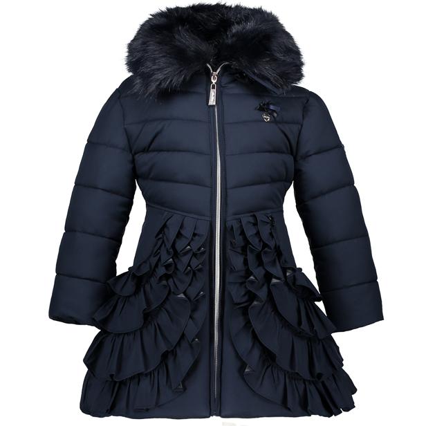 【Le Chic】ワンピース型フリル付ロングコート<紺色> 116/128/140/152サイズ フード/ファー襟取外し可能 お尻すっぽり