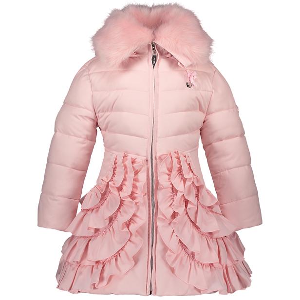 【Le Chic】ワンピース型フリル付ロングコート<ピンク> 116/128/140/152サイズ フード/ファー襟取り外し可能 お尻すっぽり