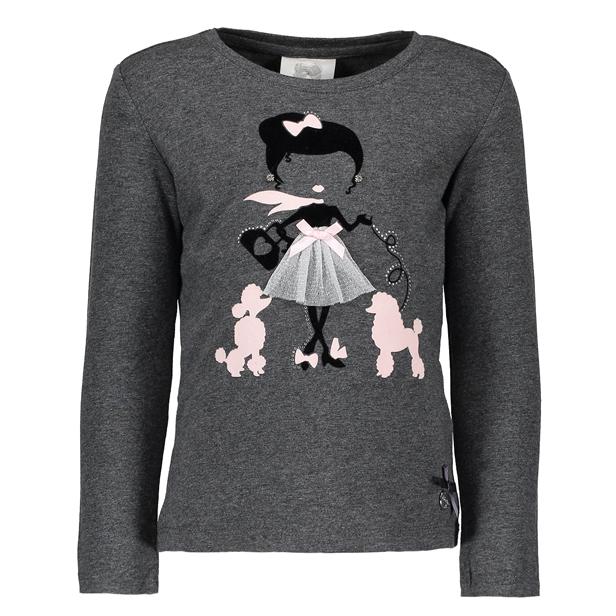 【Le Chic】プードル散歩 長袖Tシャツ<グレー> 104/116/128/140/152サイズ