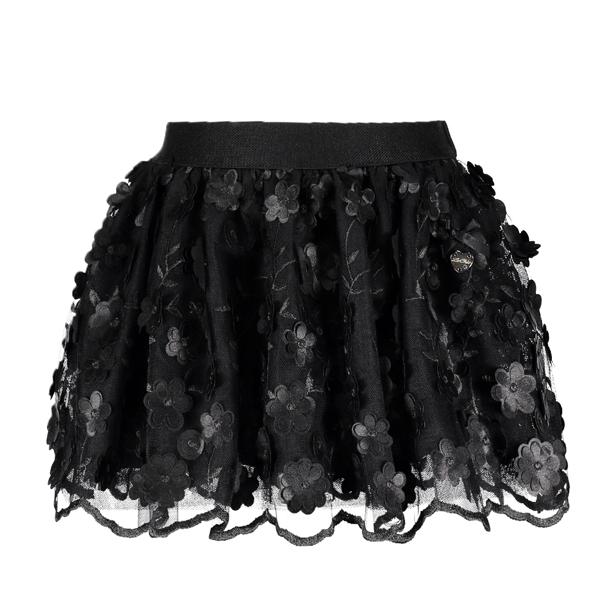【Le Chic】ボリュームチュチュスカート<黒> 128/140/152サイズ フラワーレース
