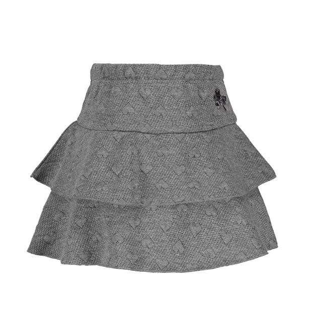 【Le Chic】カット素材ハート柄ティアードスカート<グレー> 116/128/140/152サイズ ウェストゴム
