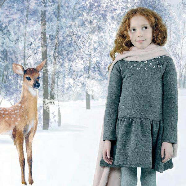 【Le Chic】カットソーハート柄ワンピース<グレー>104/116/128/140/152サイズ クリスマス パーティー用