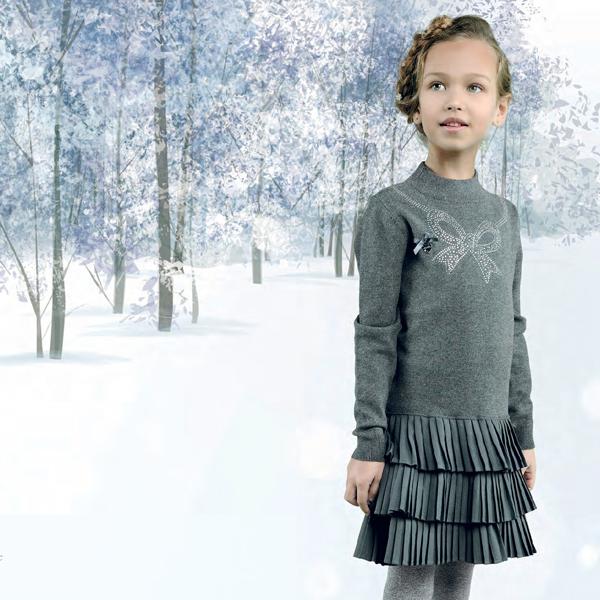 【Le Chic】ニットとプリーツのワンピース<グレー>104/116/128/140/152サイズクリスマス パーティー用