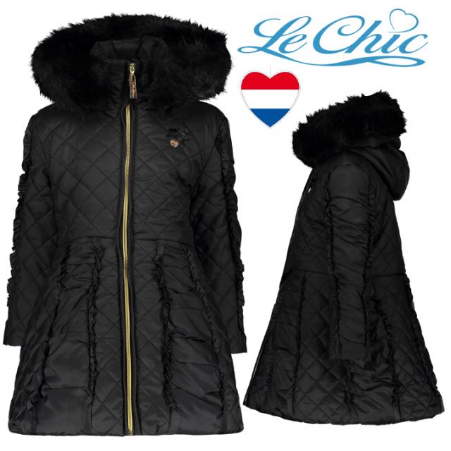 【Le Chic ルシック】 アウター キルティング ロングコート BLACK 116 128 140 152 サイズ