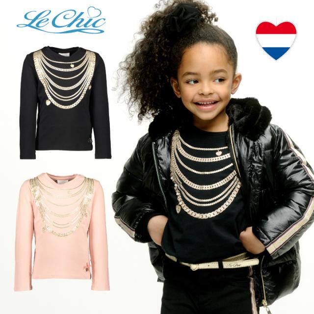 【Le Chic ルシック】長袖Tシャツ ゴールド ネックレス フェイクプリント 116 128 140 152 サイズ